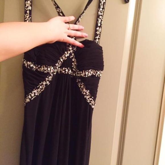 Le Chateau Black Silver Prom Dress